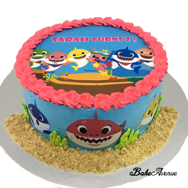 Baby Shark icing image Cake with Decorated side