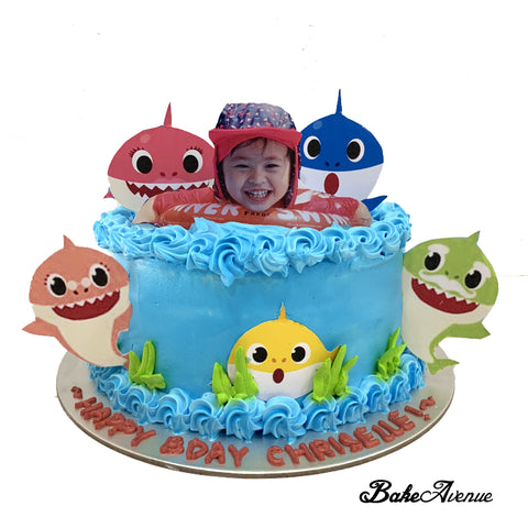 Baby Shark Ombre Cake with Paper Toppers