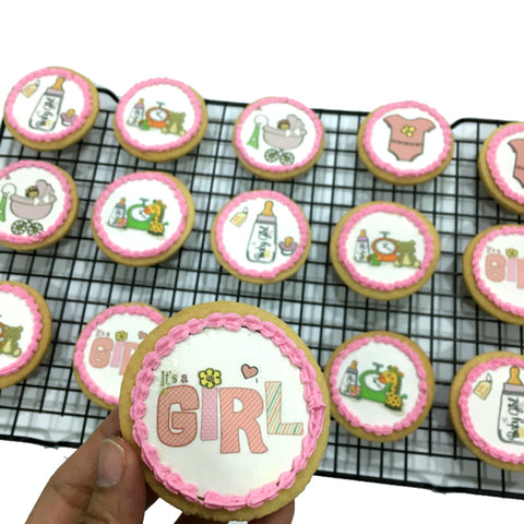 Baby Shower icing image Cookies (Girl)
