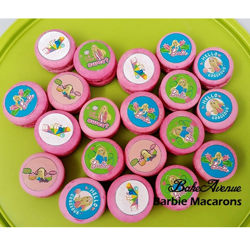 Barbie (Round macarons with icing images) Macarons