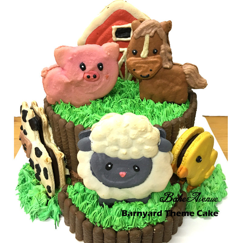 Barnyard Theme Cake (with large animal macarons & chocolate fingers)