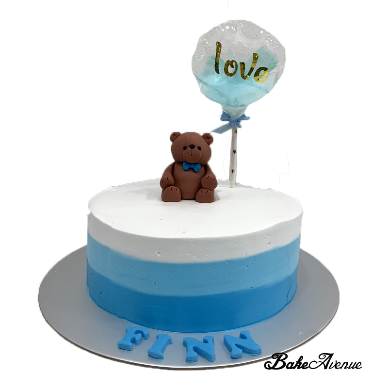 Bear Fondant Topper Ombre Cake (Smooth Finish)