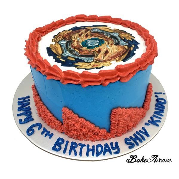 Beyblade Burst icing image Ombre Cake (Smooth Finish)