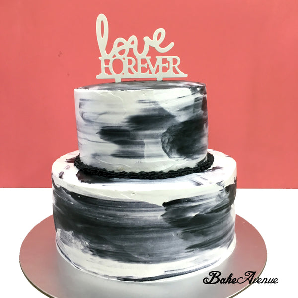 Wedding 2-Tiers Cake (Black White)