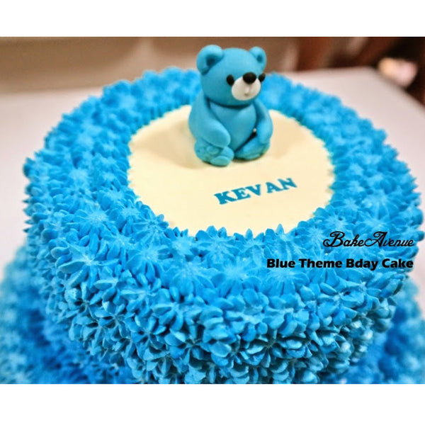 2 Tiers Blue Ombre Bear Cake