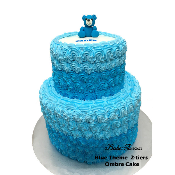 2 Tiers Blue Ombre Cake