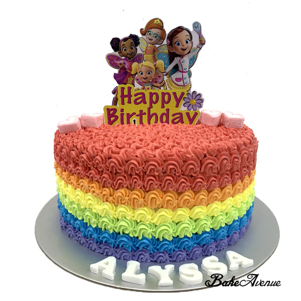 Butterbean's Cafe Paper Topper Rainbow Cake