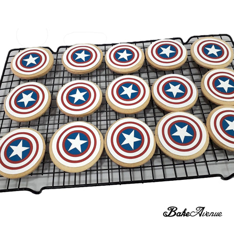 Captain America Shield icing image Cookies