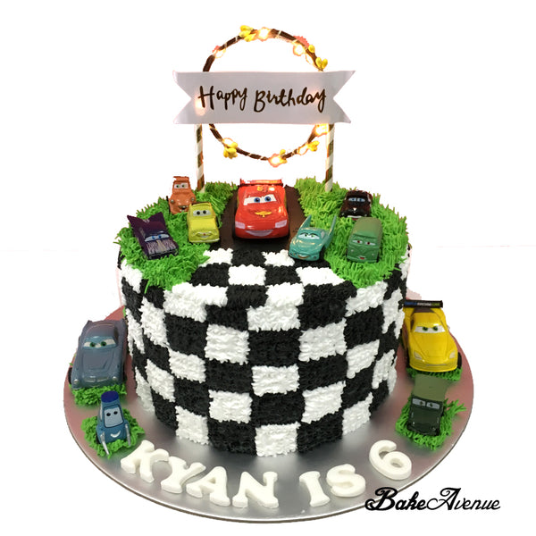 Cars (Movie) Topper Rainbow Cake (Checked Design)