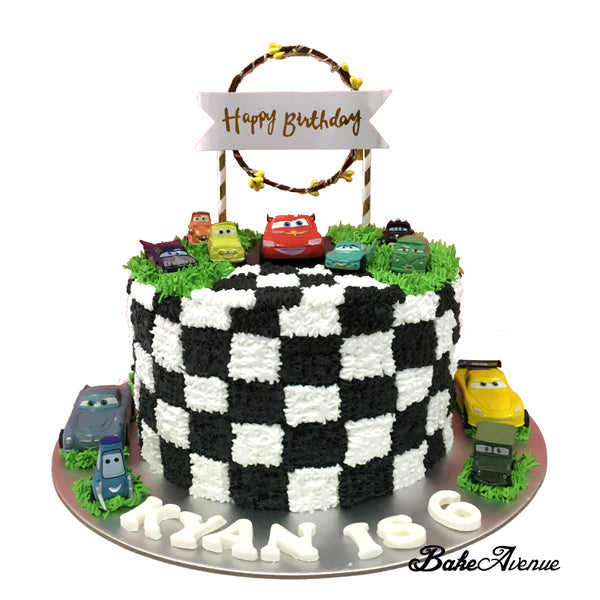 Cars (Movie) Topper Cake (Checked Design)