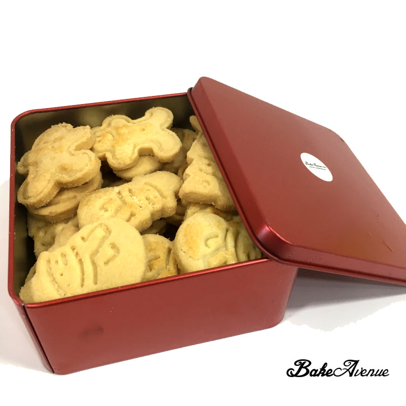 Christmas Cookies - Christmas Theme Assorted Butter Cookies in a Red Tin