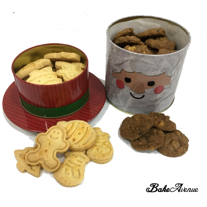 Christmas Cookies With Chocolate Chips Cookies Santa Snowman Tin