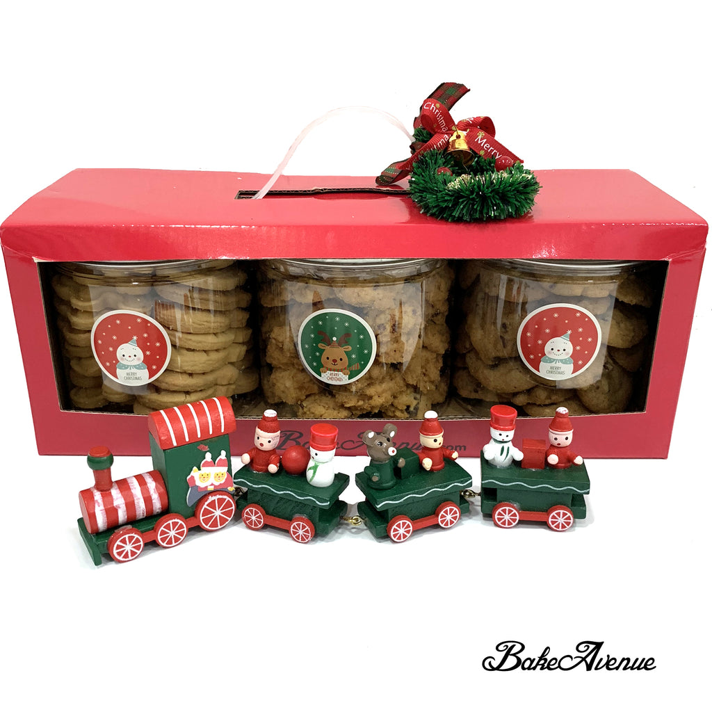 Christmas Cookies Gift Set (Bundle of 3 cookies - Butter, Chocolate & Cranberry Cookies)