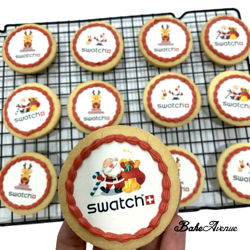 Corporate Orders Christmas Cookies Round With Logo Bakeavenue
