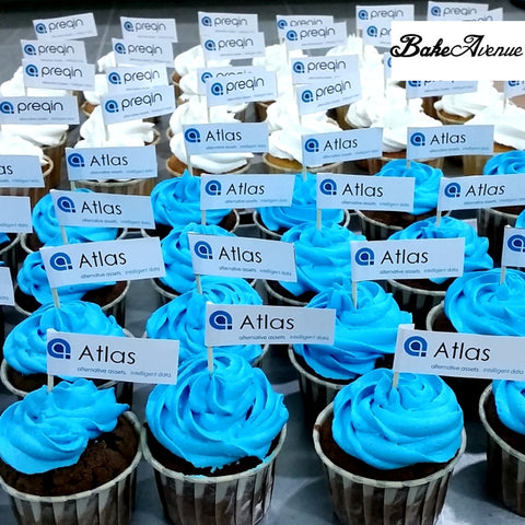 Corporate Orders - Cupcakes - Company Logo (Flag Topper)