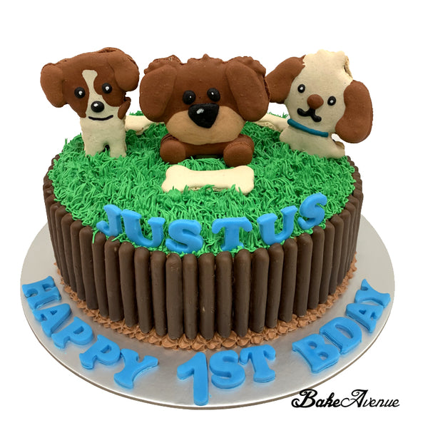 Dog Macaron Topper Cake with chocolate fingers