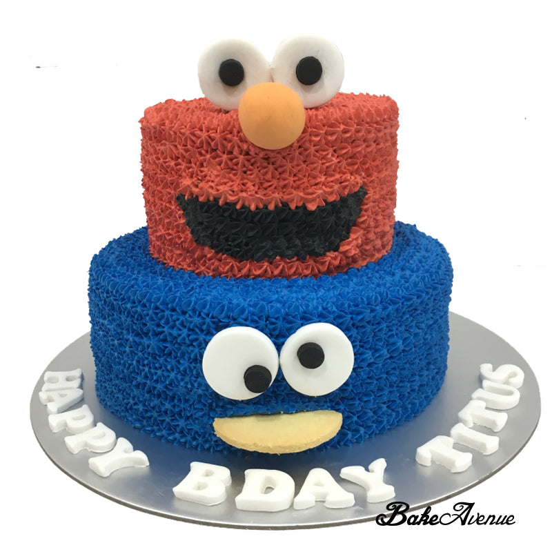 Sesame Street - Elmo Cookie Monster Face 2-Tiers Cake