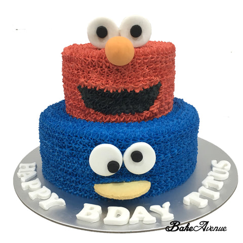 Elmo Cookie Monster Face 2 Tiers Cake