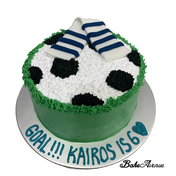 Sports Soccer Ombre Cake with fondant scraf (Everton)