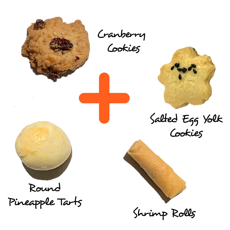 Fortune Set @$66.80 (Round Pineapple + Salted Egg Yolk Cookies +Cranberry Cookies + Shrimp Rolls)