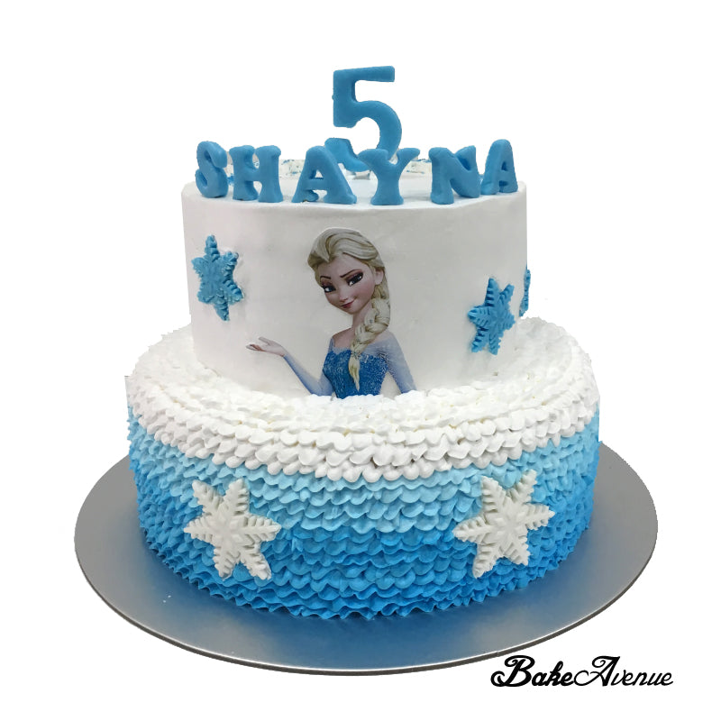 Frozen Theme 2 tiers cake with side decorated