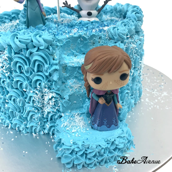 Frozen Ombre Cake (with stairs) with toppers