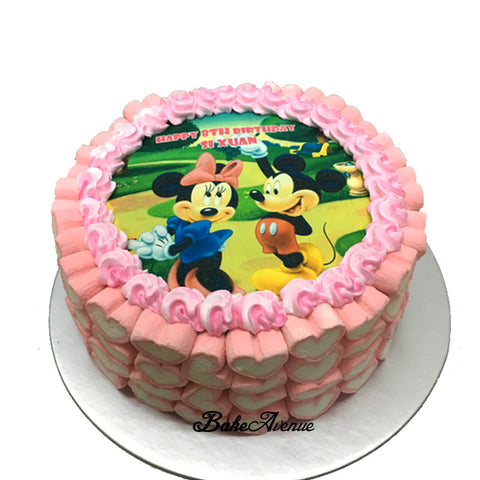 Mickey theme ombre cake with marshmallows