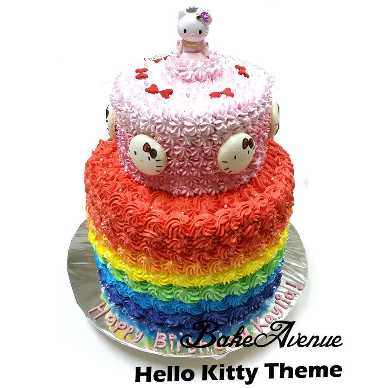 Hello Kitty 2 Tiers Cake With Toppers Bakeavenue