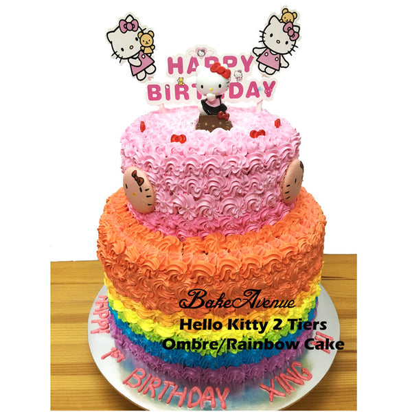 Hello Kitty Ombre Rainbow Cake with Macarons