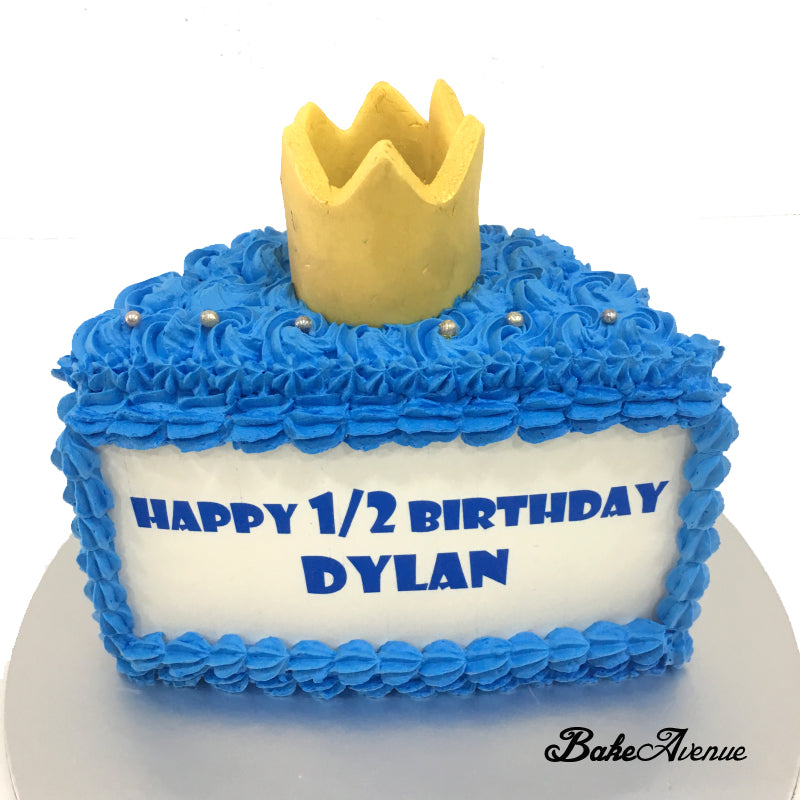 Half Year Old Blue Cake With Crown