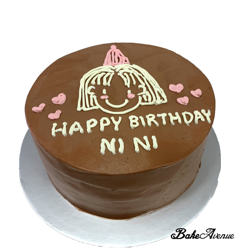 Chocolate Mousse Cake with hand drawn girl + birthday msg