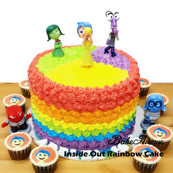 Inside Out Rainbow Cake with Inside Out cupcakes
