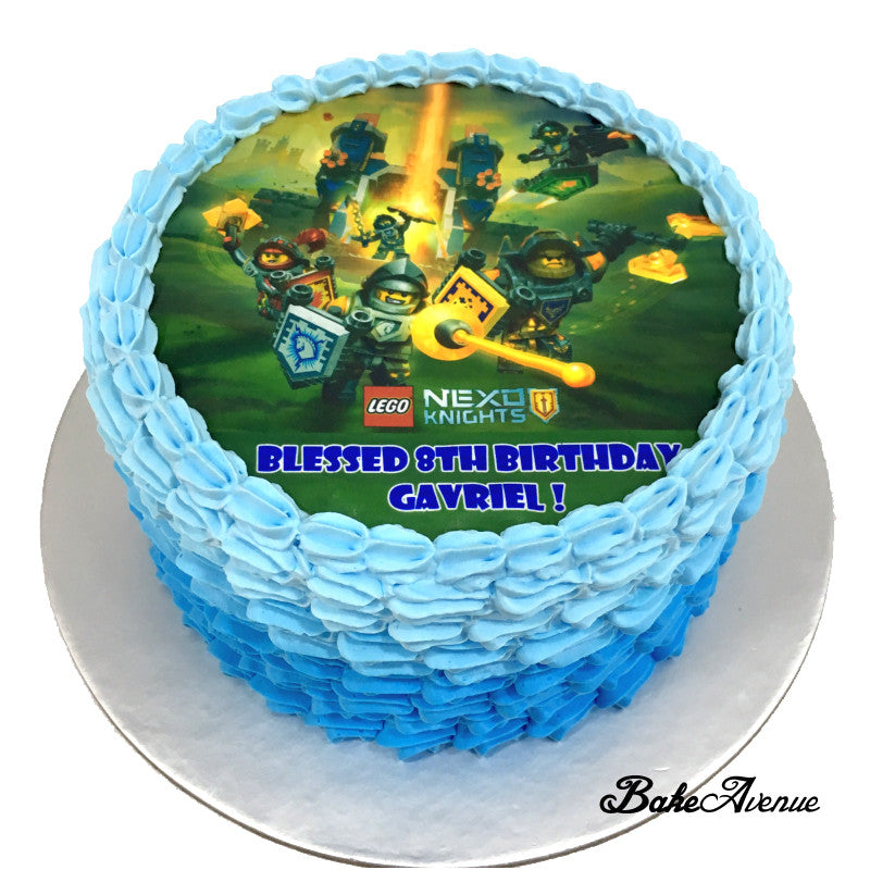 Lego Theme icing image Ombre Cake - Nexo Knights
