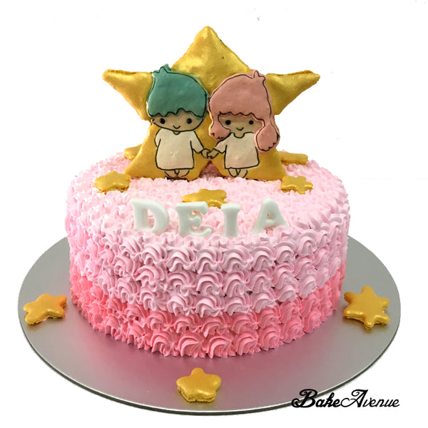 Little Twin Stars Macaron Topper Ombre Cake (With Star)