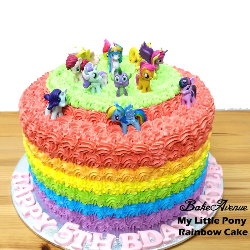 My Little Pony Rainbow Cake With Toppers Bakeavenue