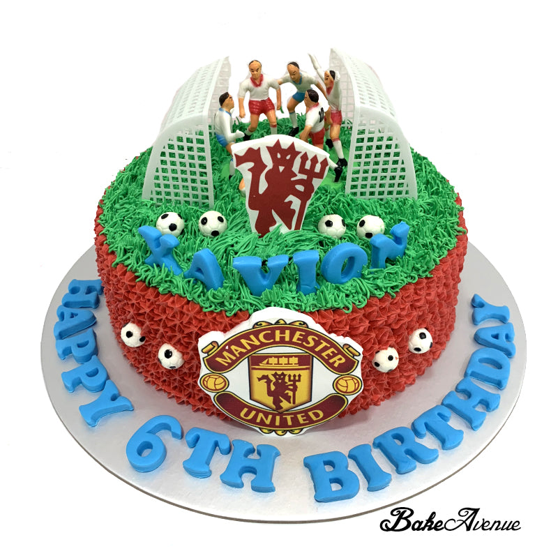 sports soccer ombre cake with toppers 2 goal poles manchester unite bakeavenue sports soccer ombre cake with toppers