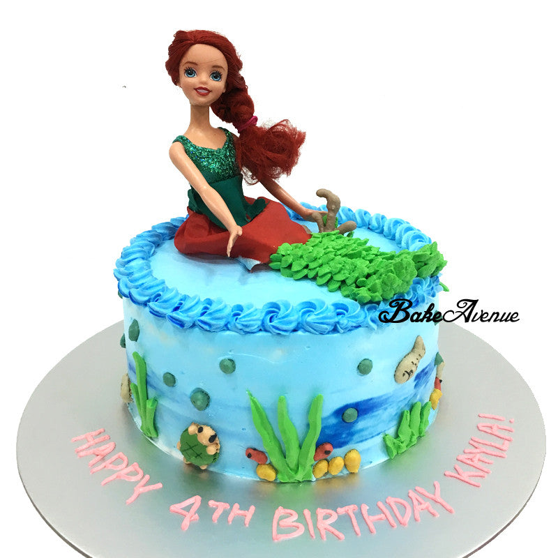 Princess Ariel Mermaid Ombre Cake With Toppers Design 1 Bakeavenue