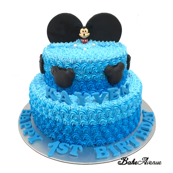 Mickey 2-Tiers Cake with topper & Fondant Ears