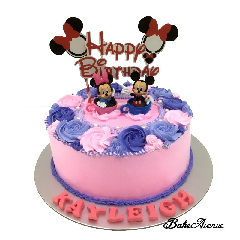 Mickey Minnie Floral Cake with toppers (Design 1)