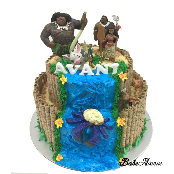 Princess Moana 2-Tiers Cake with toppers