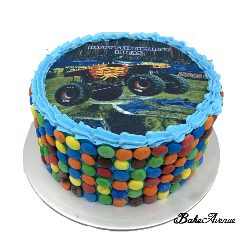 Monster Truck icing image M&M Chocolate Cake