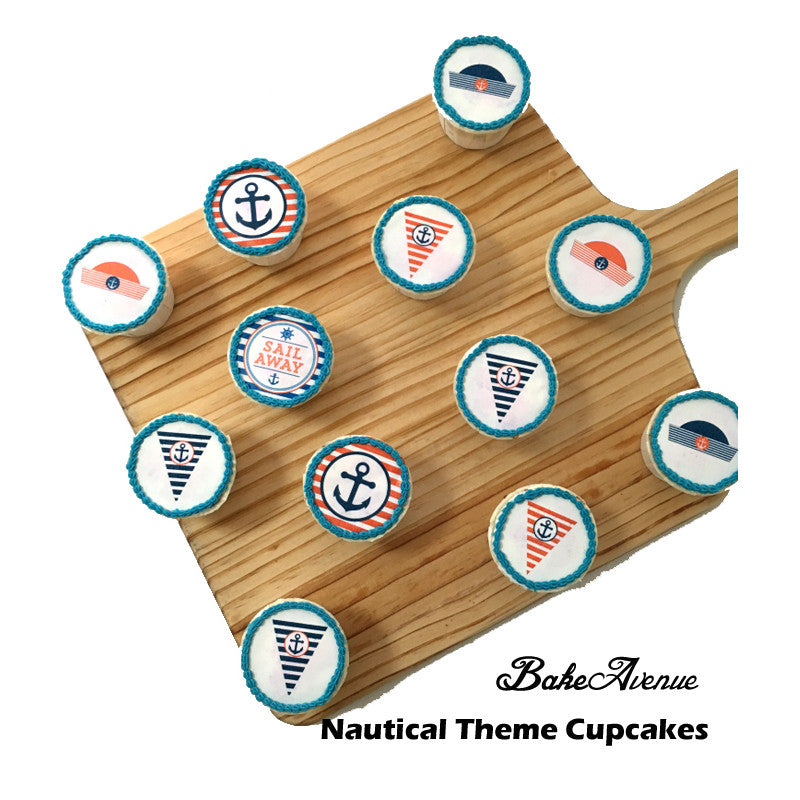 Nautical Theme icing image Cupcakes