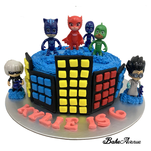 PJ Mask Ombre Cake with toppers