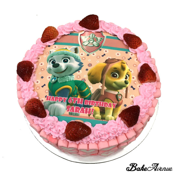 Paw Patrol icing image (with marshmallows) Strawberry Cake
