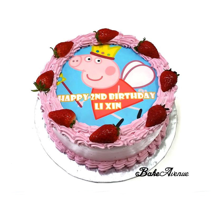 Peppa Pig Strawberry Cake