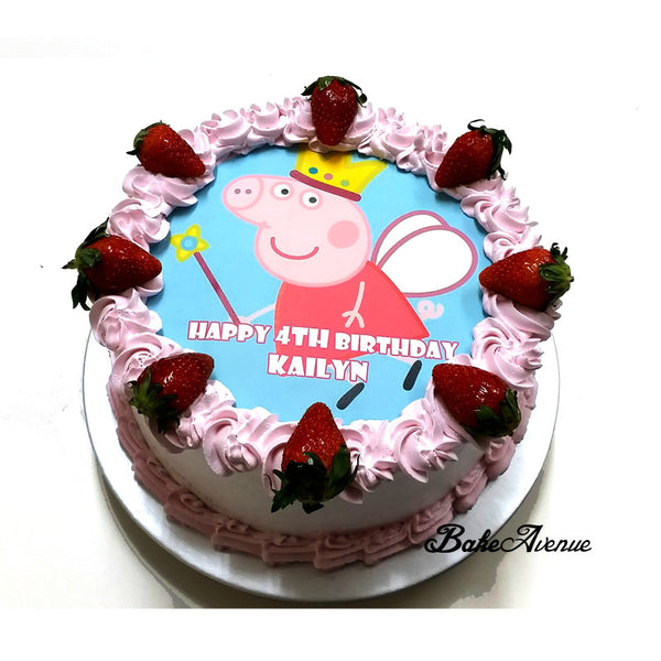 Peppa Pig icing image Strawberry Cake
