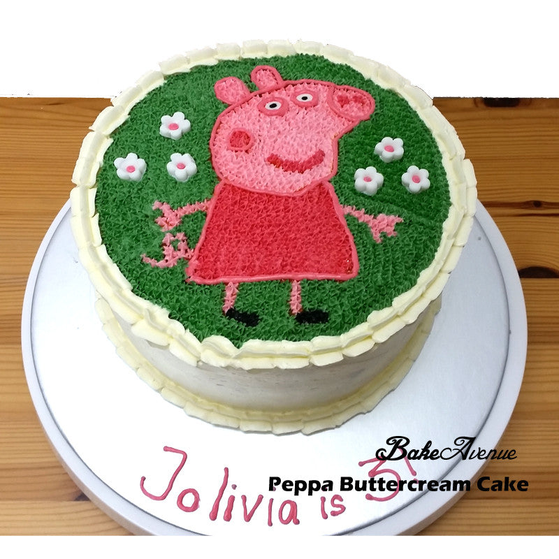 Peppa Pig Buttercream Cake With Fondant Flowers Decor Bakeavenue