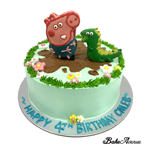 Peppa Pig George Dinosaur Macaron Topper Ombre Cake