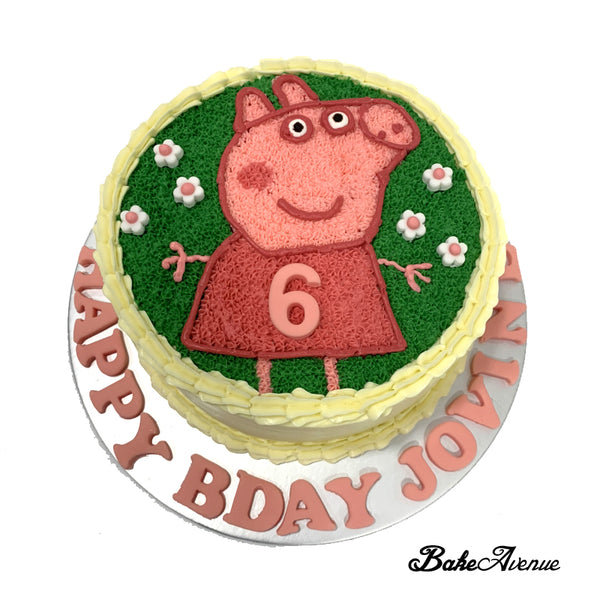 Peppa Pig Buttercream Cake (with fondant flowers decor)