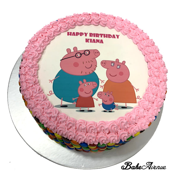 Peppa Pig icing image M&M Chocolate Cake